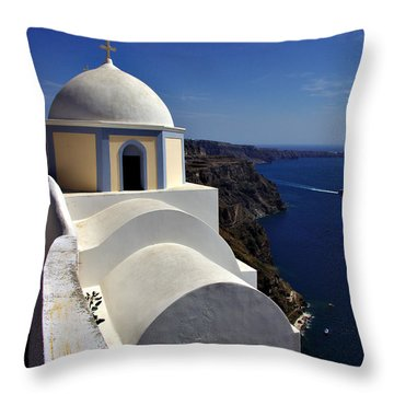 Building In Fira Throw Pillow