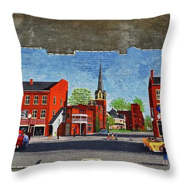 Building Mural - Cuba New York 001 Throw Pillow by George Bostian