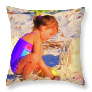 Building Sand Castles Throw Pillow