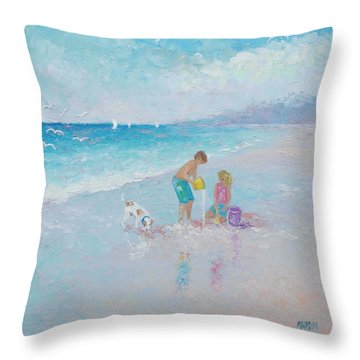 Building Sandcastles Throw Pillow