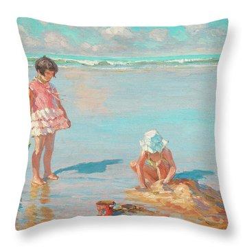 Building Sandcastles On The Beach Throw Pillow