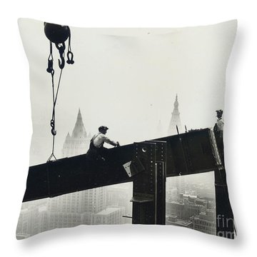Building The Empire State Building Throw Pillow