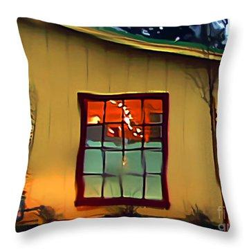 Building Through A Rainy Window Throw Pillow by Wernher Krutein