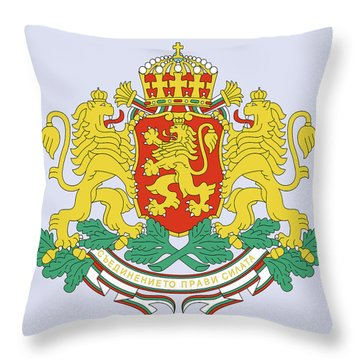 Throw Pillow featuring the drawing Bulgaria Coat Of Arms by Movie Poster Prints