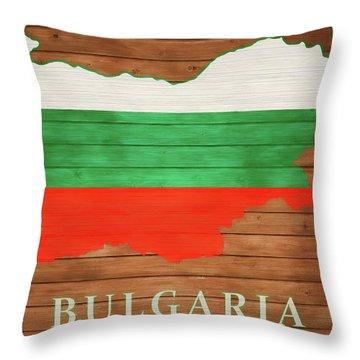 Bulgaria Rustic Map On Wood Throw Pillow