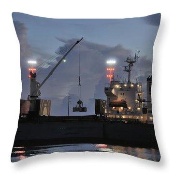 Bulk Cargo Carrier Loading At Dusk Throw Pillow