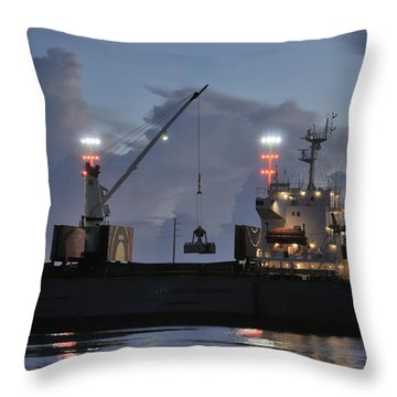 Bulk Cargo Carrier Loading At Dusk Throw Pillow