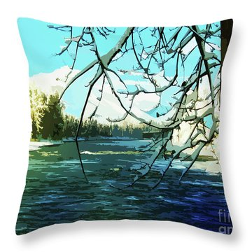 Bulkley River, Dead Of Winter Throw Pillow