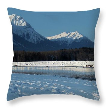 Bulkley River, With Hbm In Background Throw Pillow