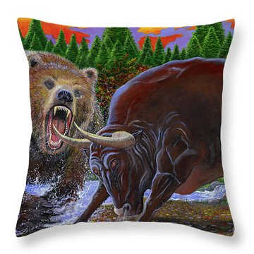 Bull And Bear Throw Pillow by Carey Chen