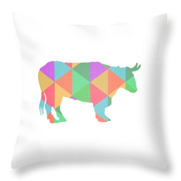 Bull Cow Triangles Throw Pillow by Edward Fielding