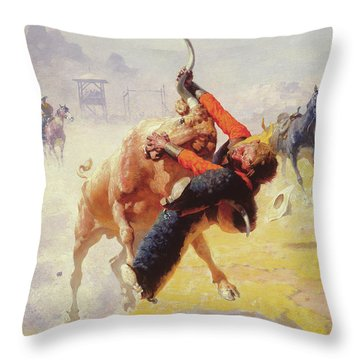 Bull Dodging Throw Pillow