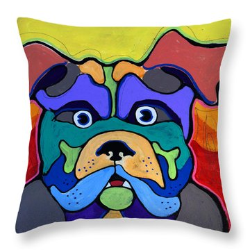 Bull Dog - Don't Give Me Your Lines , And Keep Your Hands To Yourself Throw Pillow