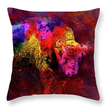 Bull Throw Pillow by Elena Kosvincheva