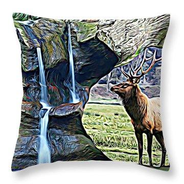 Bull Elk By A Waterfall Throw Pillow