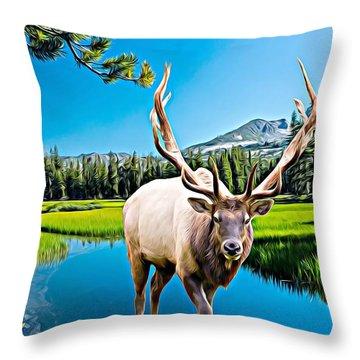 Bull Elk By The Lake Throw Pillow