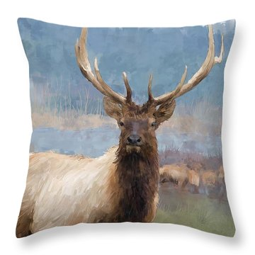 Bull Elk By The River Throw Pillow