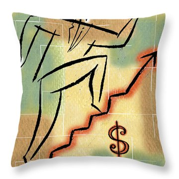 Throw Pillow featuring the painting Bull Market by Leon Zernitsky