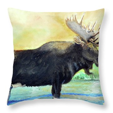 Bull Moose In Mid Stream Throw Pillow by Sherril Porter