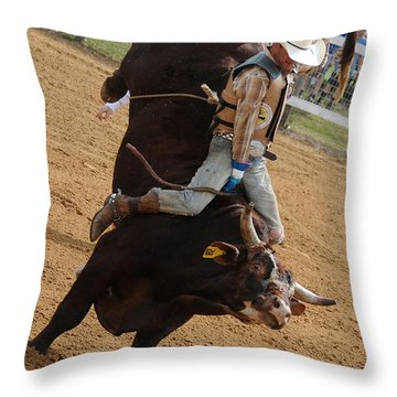 Bull Ride Throw Pillow