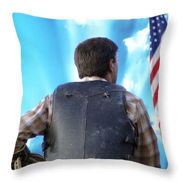Throw Pillow featuring the photograph Bull Rider by Brian Wallace