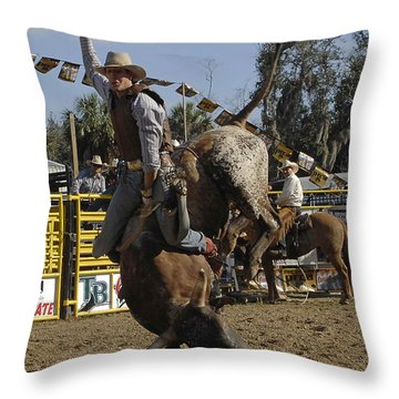 Bull Rider Throw Pillow