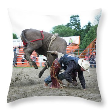 Bull Riding Action Throw Pillow