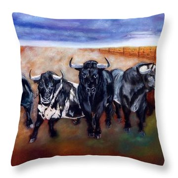 Bull Stampede Throw Pillow