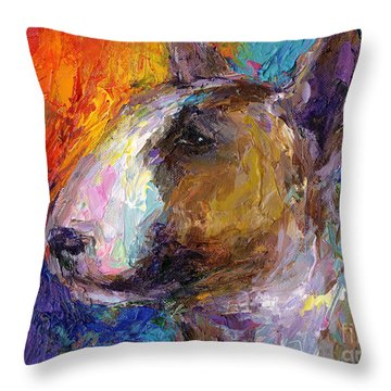 Bull Terrier Dog Painting Throw Pillow