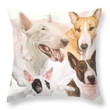 Bull Terrier Medley Throw Pillow