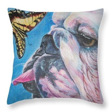 Bulldog And Butterfly Throw Pillow by Lee Ann Shepard