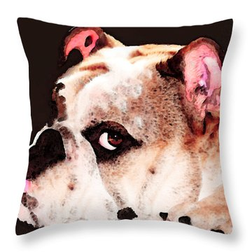 Bulldog Art - Let's Play Throw Pillow by Sharon Cummings