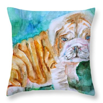 Throw Pillow featuring the painting Bulldog Cub  - Watercolor Portrait by Fabrizio Cassetta