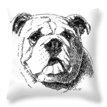 Bulldog-portrait-drawing Throw Pillow