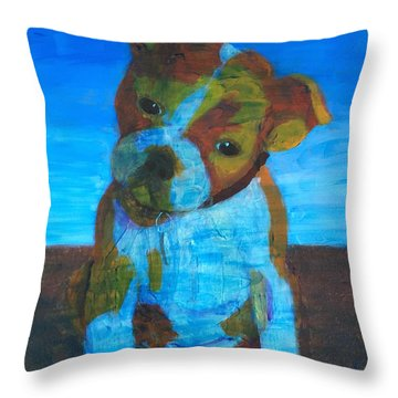 Throw Pillow featuring the painting Bulldog Puppy by Donald J Ryker III
