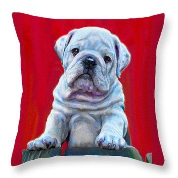 Throw Pillow featuring the digital art Bulldog Puppy On Red by Jane Schnetlage