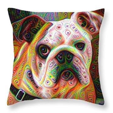 Bulldog Surreal Deep Dream Image Throw Pillow