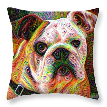 Bulldog Surreal Deep Dream Image Throw Pillow