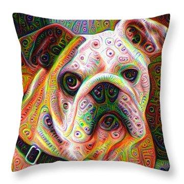 Bulldog Surreal Deep Dream Image Throw Pillow by Matthias Hauser