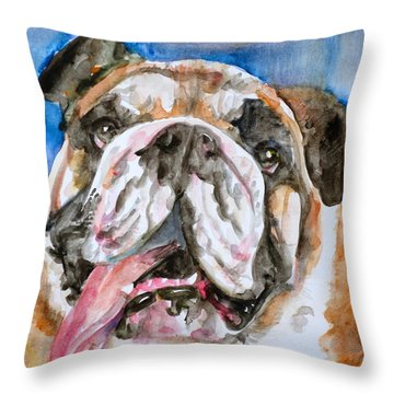 Throw Pillow featuring the painting Bulldog - Watercolor Portrait.3 by Fabrizio Cassetta