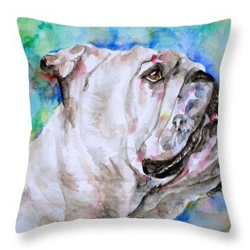 Throw Pillow featuring the painting Bulldog - Watercolor Portrait.4 by Fabrizio Cassetta