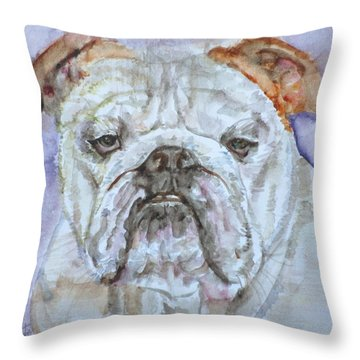 Throw Pillow featuring the painting Bulldog - Watercolor Portrait.5 by Fabrizio Cassetta