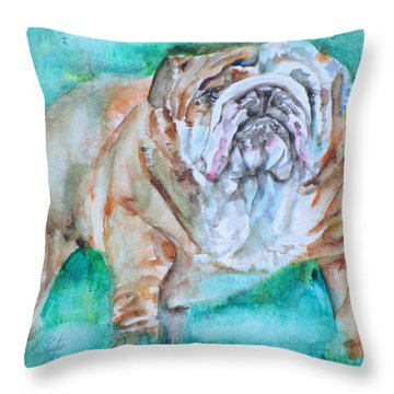 Throw Pillow featuring the painting Bulldog - Watercolor Portrait.6 by Fabrizio Cassetta