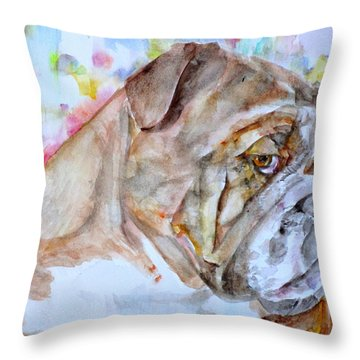 Throw Pillow featuring the painting Bulldog - Watercolor Portrait.7 by Fabrizio Cassetta