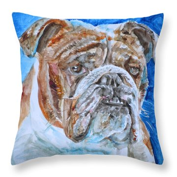 Throw Pillow featuring the painting Bulldog - Watercolor Portrait.8 by Fabrizio Cassetta