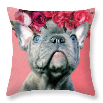 Bulldog With Flowers Throw Pillow