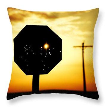 Bullet-riddled Stop Sign Throw Pillow