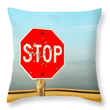 Bullet Riddled Throw Pillow
