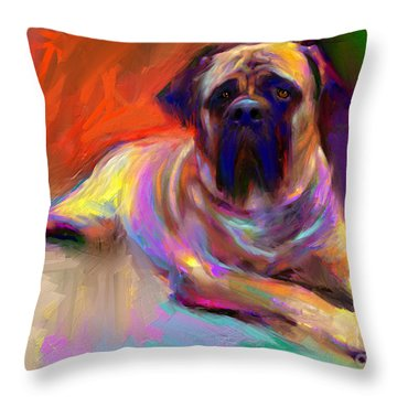 Bullmastiff Dog Painting Throw Pillow