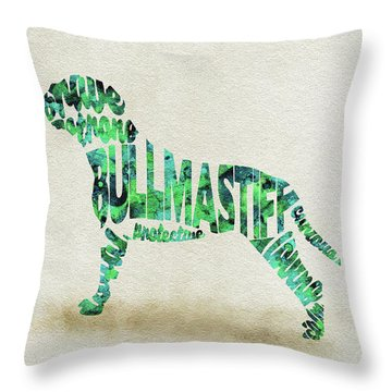 Throw Pillow featuring the painting Bullmastiff Watercolor Painting / Typographic Art by Ayse and Deniz